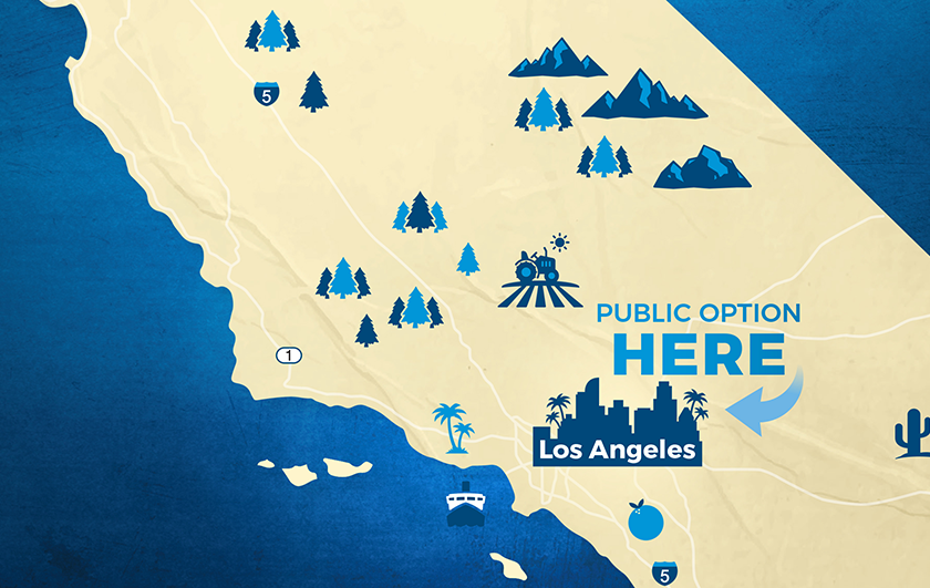 map showing Los Angeles marked Public Option HERE