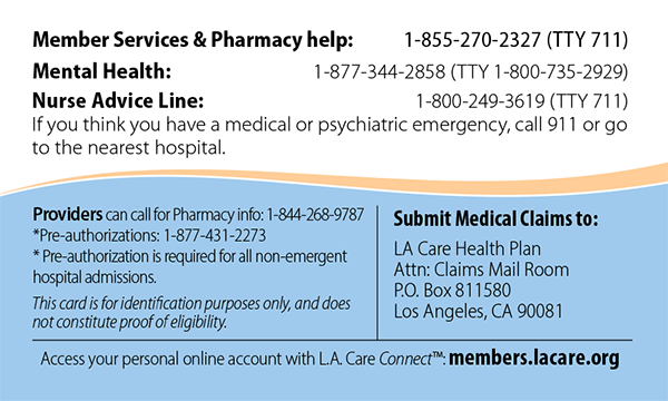 L.A. Care Covered Member ID Card Back