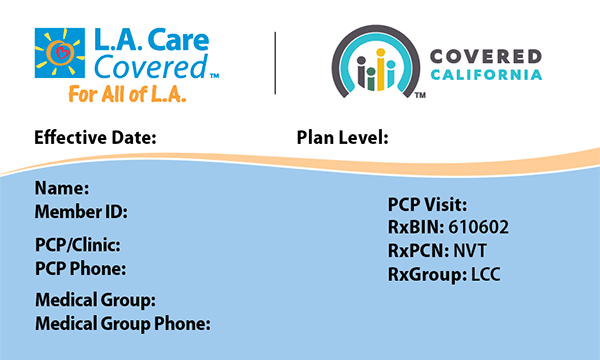 L.A. Care Covered Member ID Card Front