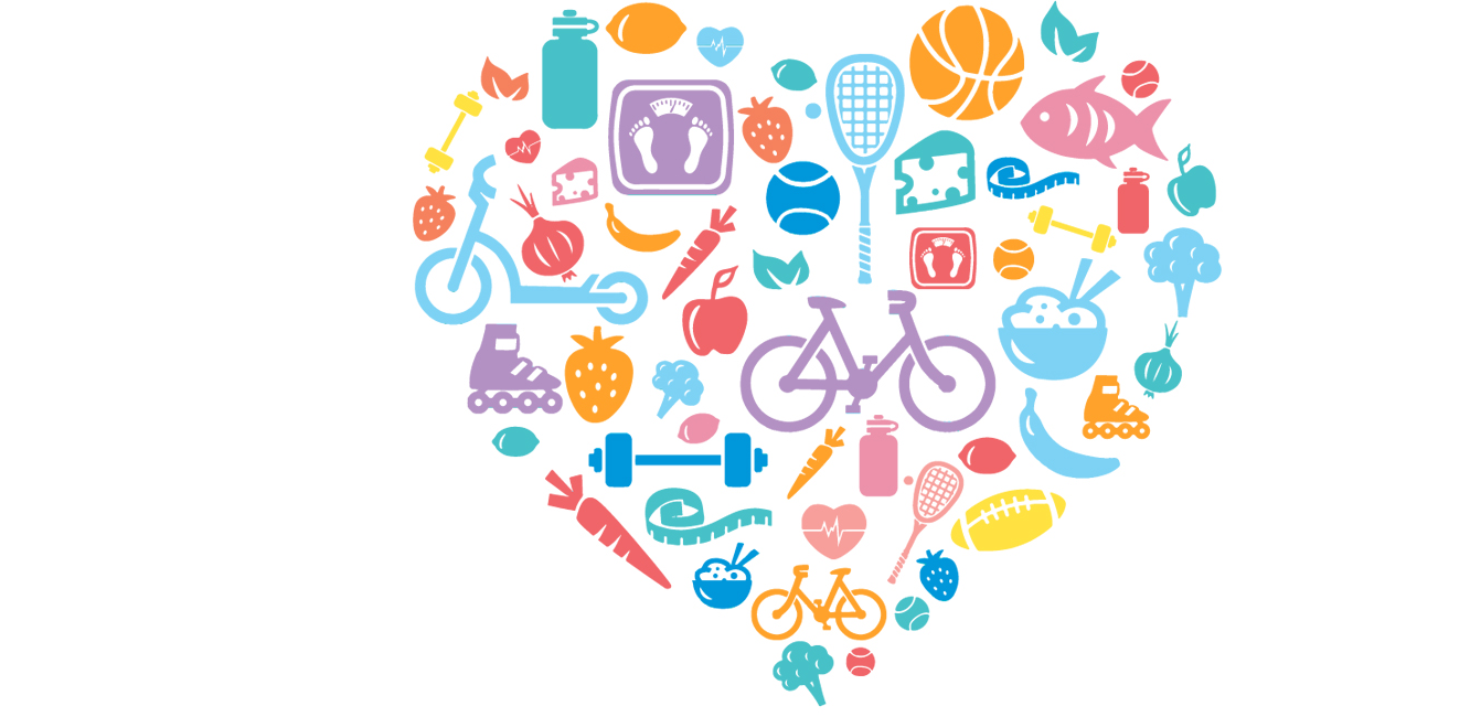 various graphics making up the shape of a heart, including bicycle, sports items, healthy foods