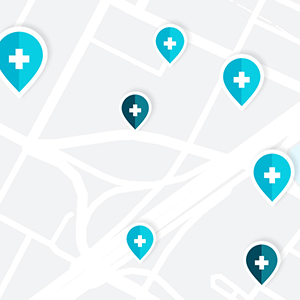a map with health location icons