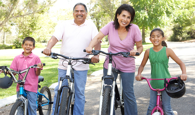 Healthy family enjoying exercise.