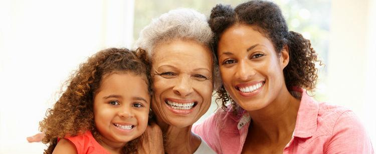 Smiling grandmother, mother and child