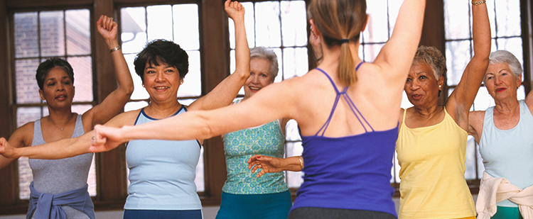 exercise class with senior participants