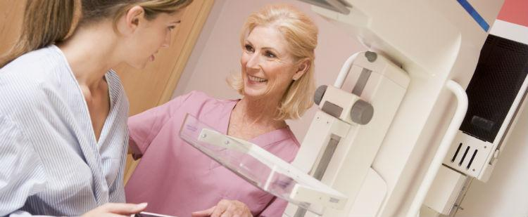 Woman preparing to get mammogram
