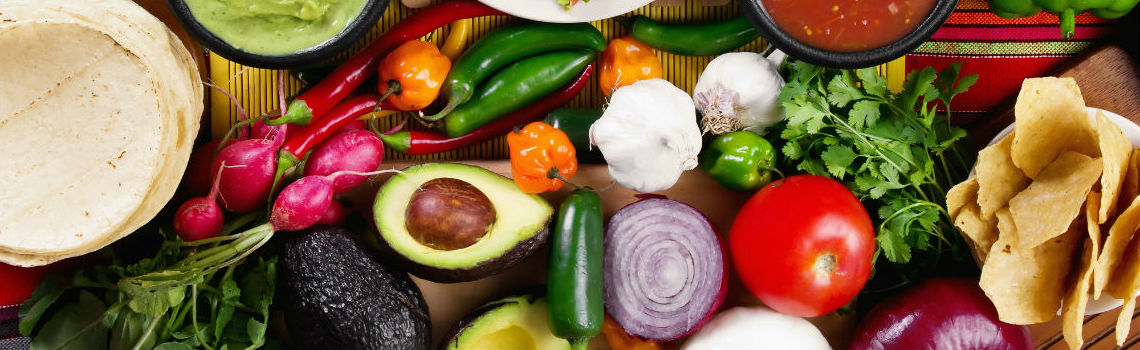 Colorful Hispanic Foods on a table
