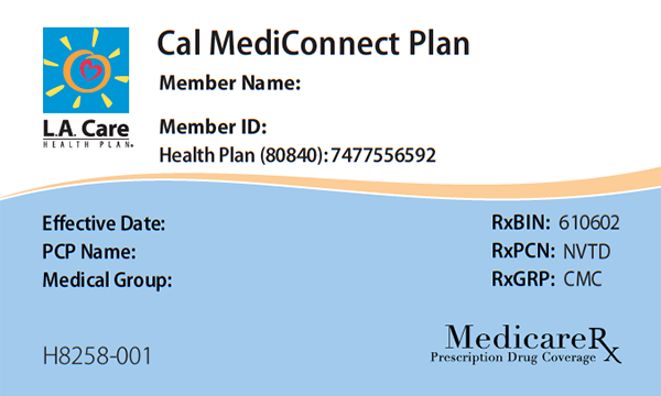 Cal MediConnect Member ID Card Front