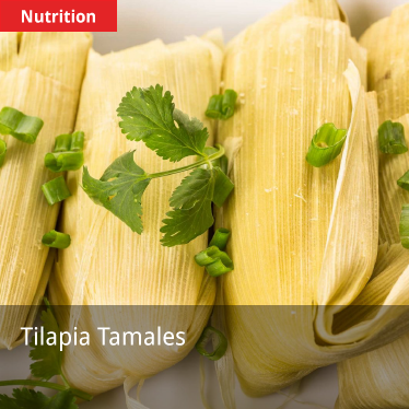 tilapia tamales with red nutrition label in upper left corner