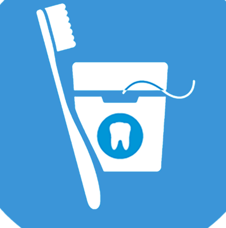 dental icon with toothbrush and floss