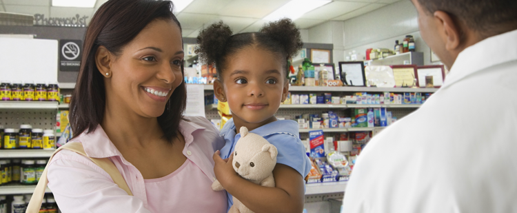Mother and daughter at the pharmacy